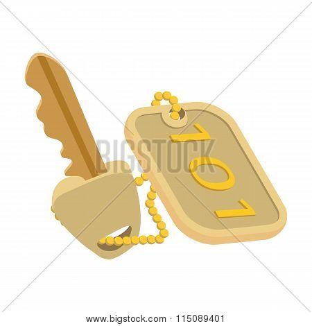Hotel key cartoon icon