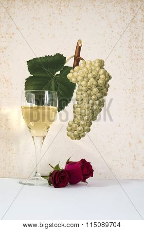 white wine in a glass with rose and bunch of grapes