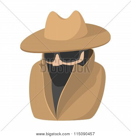 Man in black sunglasses and brown hat cartoon icon