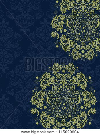 Vintage invitation card with ornate elegant retro abstract floral design, yellow green flowers and leaves on midnight blue background with text label. Vector illustration.