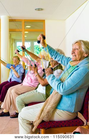Senior Women Doing A Workout In A Gym