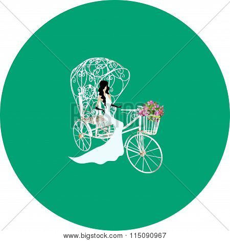 Vintage bride on a white tricycle with flowers