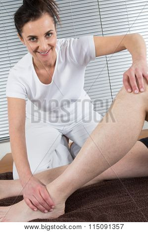 The Women Massage His Foot For Thai Spa Foot Massage