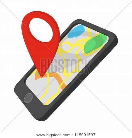 Smartphone with GPS navigator cartoon icon