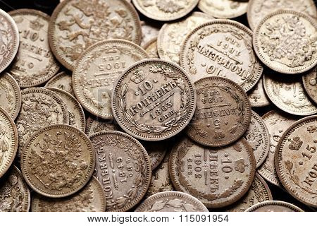 Pile Of Silver Imperial Russian Coins