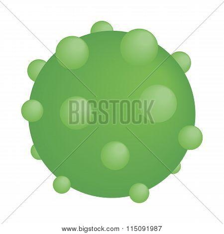 Green round virus isometric icon