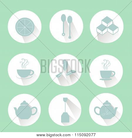 Tea icons, blue marks on white, shadows, light green background, flat icons