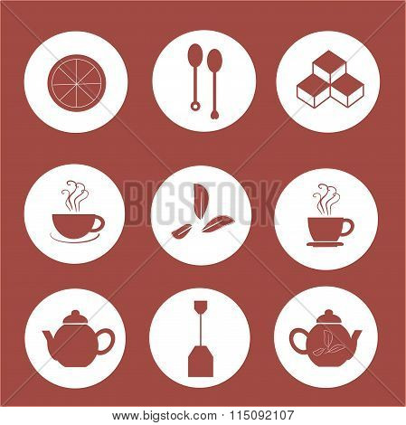 Tea icons, moorun marks on white, burgundy background, flat icons