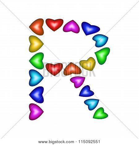 Letter R Made Of Multicolored Hearts