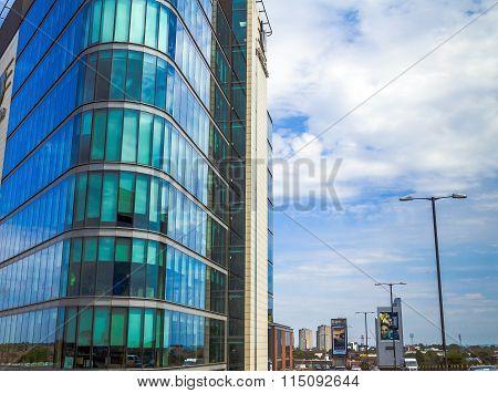 Modern Buildings On Cloudy Sky Background. London