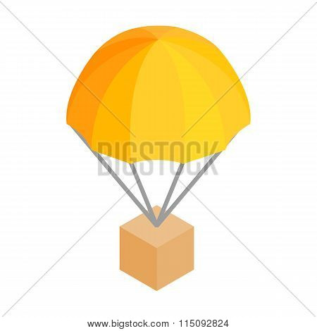 Box parachute 3d isometric icon