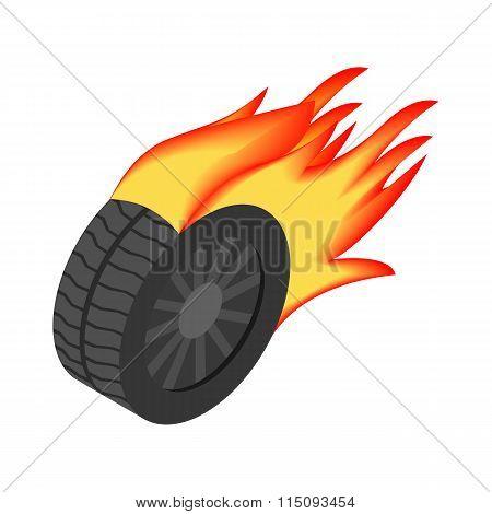 Burning wheel isometric 3d icon