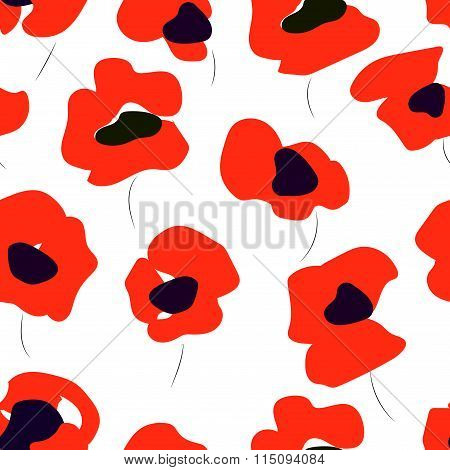 Seamless pattern of bright poppies. Floral pattern of poppies.