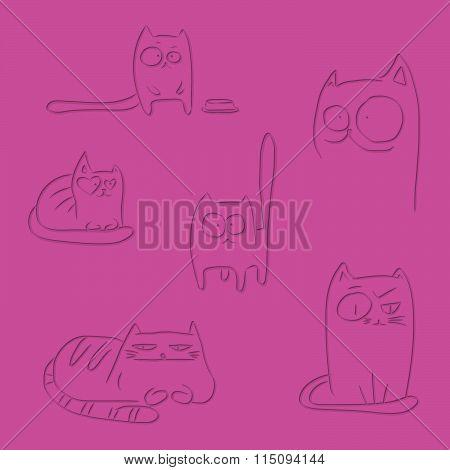 Letterpress Funny Cats