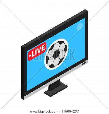 Football match on TV live stream isometric 3d icon