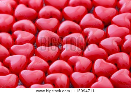 Red Heart Shaped Beads