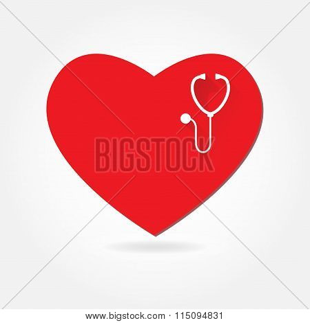 Heart with Stethoscope. Medical icon or sign. Pulse care and cardiology symbol. Vector.