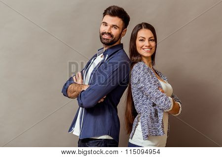 Young Couple In The Studio