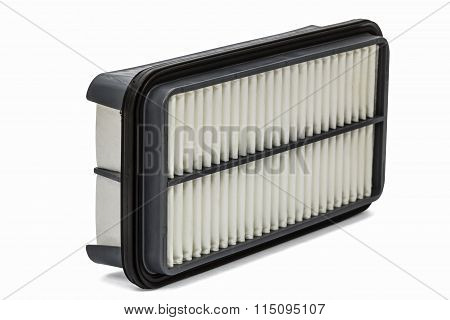 Car Filter Close-up, Auto Spare Part, Isolated On White, With Clipping Path