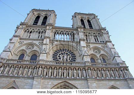 Paris, France - December 17, 2011: The Western Facade Of Notre-dame De Paris