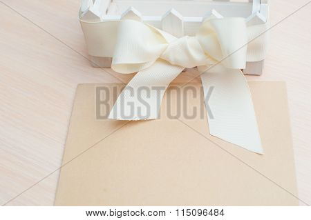 Beautiful White Bow Kraft Paper And Space For Text