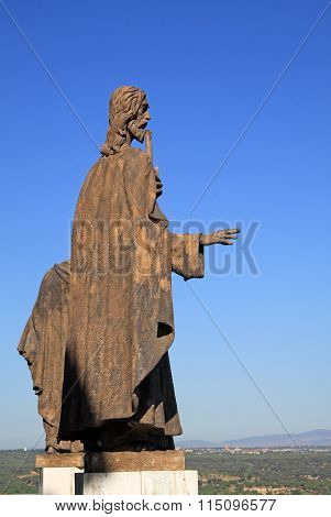 Madrid, Spain - August 23, 2012: Statues Of The Cathedral Of Our Lady Of Almudena Overlooking The Ci