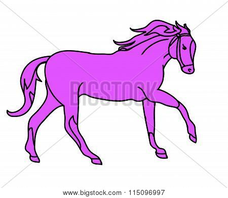 The Silhouette Of A Horse Gallop (pink)