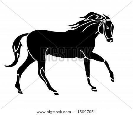 The Silhouette Of A Horse Gallop (black Spots)