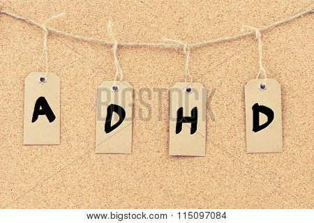 Vintage Grunge Tags With Word Adhd