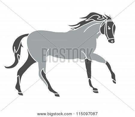 The Silhouette Of A Horse Gallop (grey)