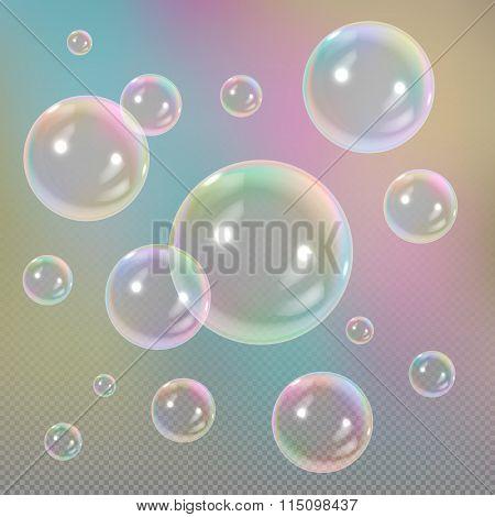 Soap bubbles on transparent background