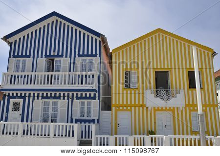 Blue And Yellow Colored Stripes Houses