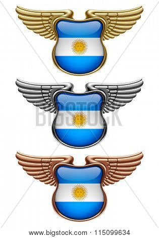 Gold, silver and bronze award signs with wings and Argentina state flag