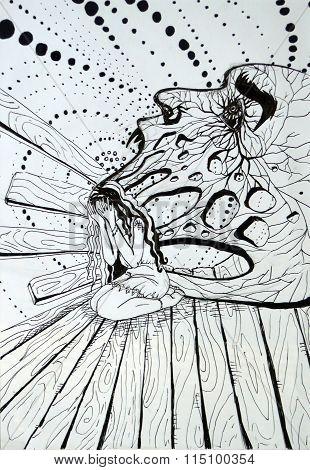 Black and white abstract illustration, inner demon girls