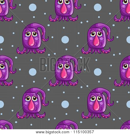 Seamless Pattern With Cute Cartoon Monsters-2