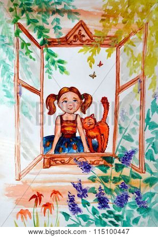 Illustration watercolor. Little girl with pigtails and a ginger cat look outside
