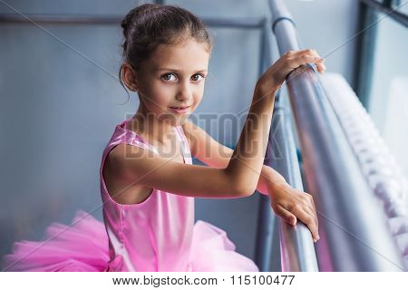 Ballerina In The Ballet Hall On The Dance Floor