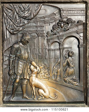 Bronze Bas-relief Sculpture Depicting The Confession Of Queen Johanna