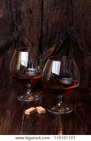 Chocolate Truffles With Cognac Glass On The Table