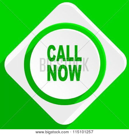 call now green flat icon