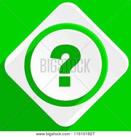question mark green flat icon