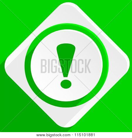 exclamation sign green flat icon