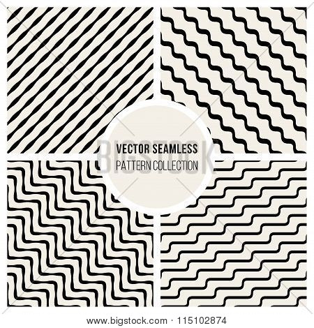 Vector Seamless Black And White Wavy Diagonal Stripe Pattern