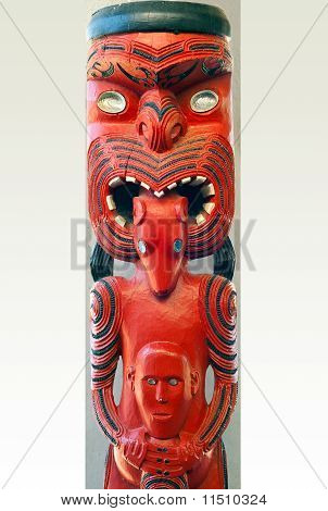 Maori Statue Painted in Red and Black Paint