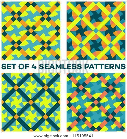 Set Of 4 Modern Geometric Seamless Patterns With Different Geometric Elements Of Teal, Yellow, Orang