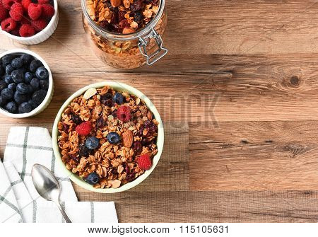 A bowl of Granola cereal with fresh fruit. Horizontal with copy space.