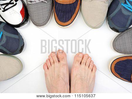 Bare Feet Beetwen Shoes