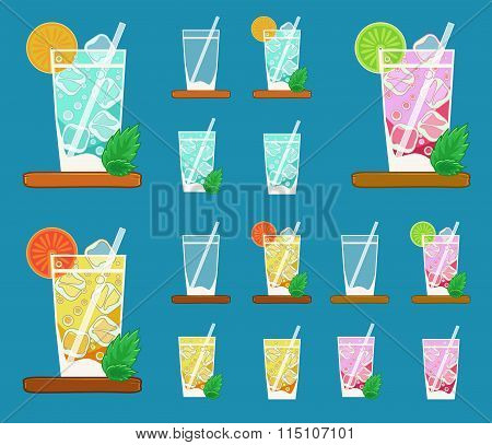 Colorful Vector Set Of Glasses With Summer Lemonades With Fruits