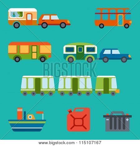 Travel Illustration With Different Types Of Transport