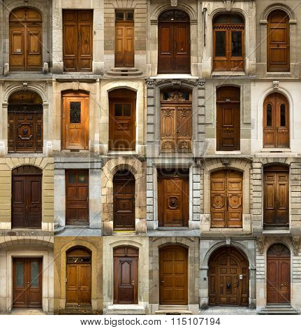 A collage of 24 Swiss wooden doors